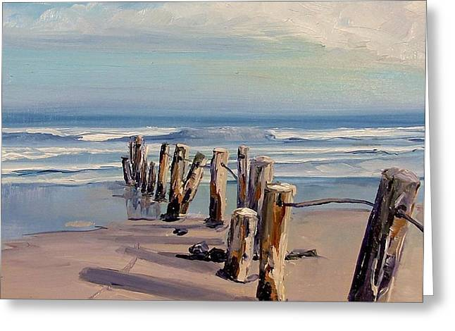 Posts Just Touch The Water Greeting Card by Dianna Poindexter