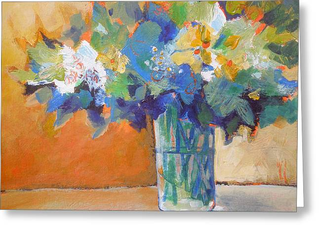 Posy In Orange And Blue Greeting Card