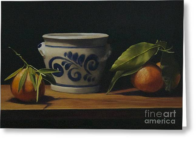 Pot And Clementines Greeting Card by Margit Sampogna