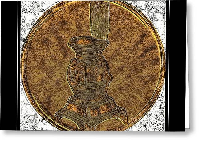 Pot-belly Stove - Brass Etching Greeting Card by Barbara Griffin
