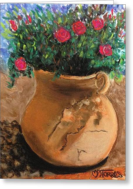 Pot Full Of Roses Greeting Card by Melissa Torres