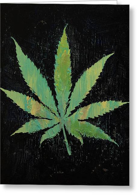 Pot Leaf Greeting Card by Michael Creese