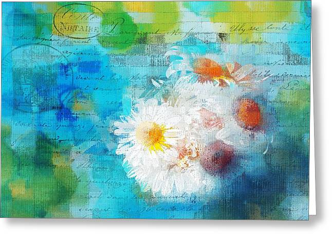 Pot Of Daisies 02 - J3327100-bl1t22a Greeting Card by Variance Collections