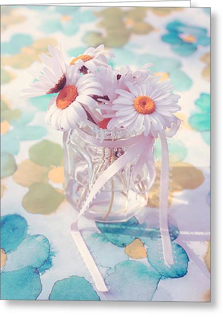 Pot Of Daisies - Du Bonheur En Pot 03s02a Greeting Card by Variance Collections