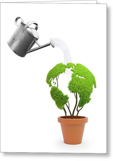 Pot Plant In Shape Of Earth Being Watered Greeting Card by Andrzej Wojcicki
