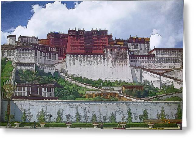 Potala Palace Greeting Card by Joan Carroll