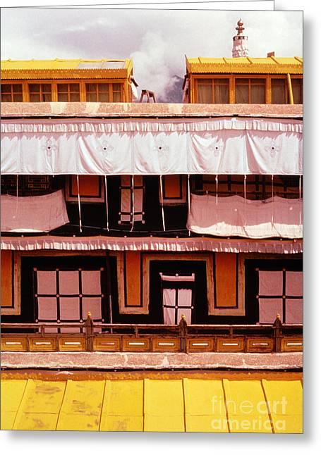 Potala Palace Rooftop - Lhasa Tibet Greeting Card by Anna Lisa Yoder