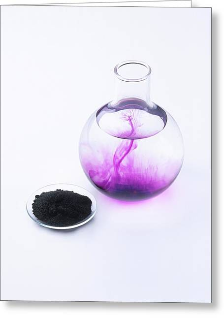 Potassium Permanganate Crystals In Dish Greeting Card by Dorling Kindersley/uig