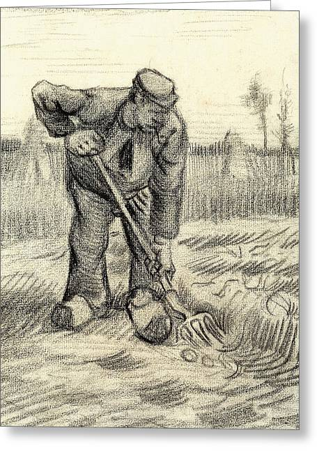 Potato Gatherer Greeting Card by Vincent Van Gogh