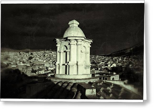 Potosi Church Dome Black And White Vintage Greeting Card