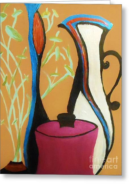 Pots And Petals Greeting Card by Marie Bulger