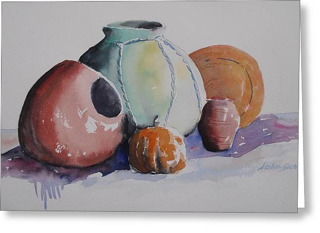 Greeting Card featuring the painting Pots by John  Svenson