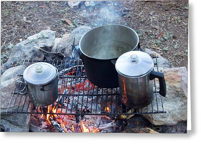 Pots On A Camp Fire Greeting Card