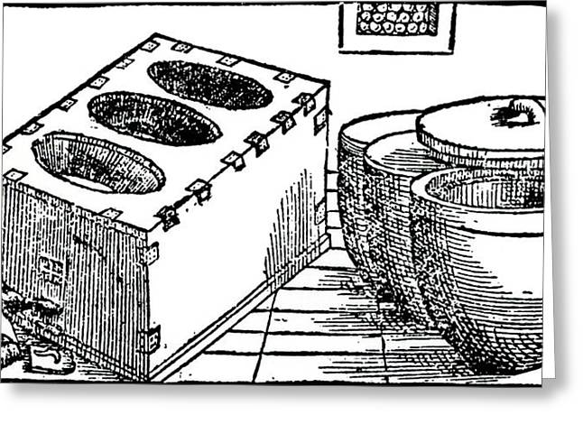 Pots Used For Mercury Heating Greeting Card by Universal History Archive/uig