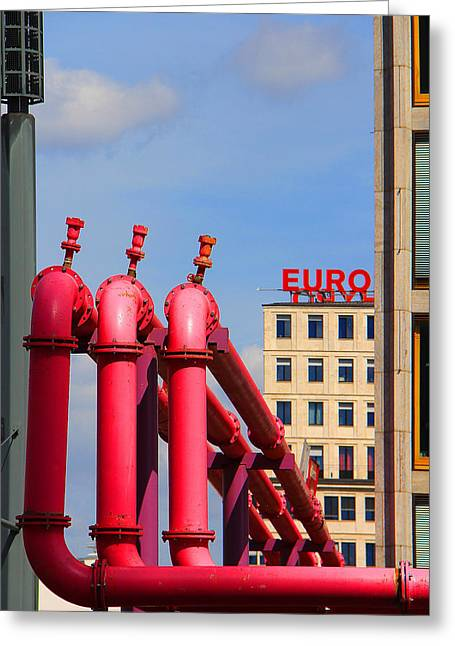 Potsdamer Platz Pink Pipes In Berlin Greeting Card by Ben and Raisa Gertsberg