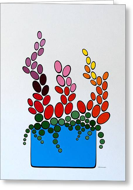 Potted Blooms - Blue Greeting Card by Thomas Gronowski