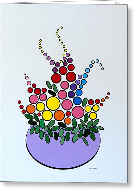 Potted Blooms - Lavendar Greeting Card by Thomas Gronowski