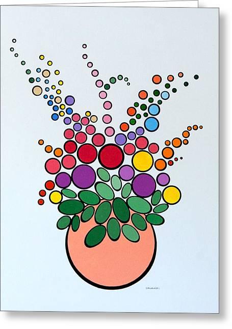 Potted Blooms - Orange Greeting Card
