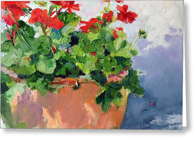 Potted Geranium Greeting Card by Carol Hopper