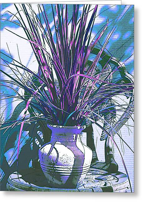 Potted In Blue Greeting Card