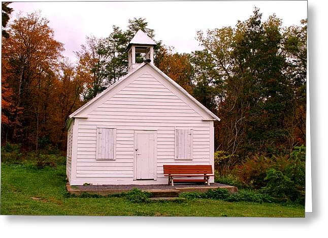 Potter Hollow School House Greeting Card by Karen Silvestri