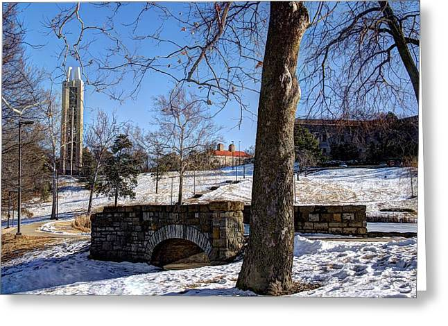 Potter Lake Foot Bridge And Campanile Greeting Card by Jean Hutchison