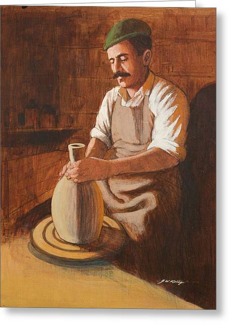 Potter's Wheel Greeting Card by J W Kelly