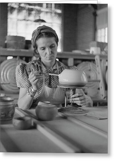 Pottery Making, 1940 Greeting Card
