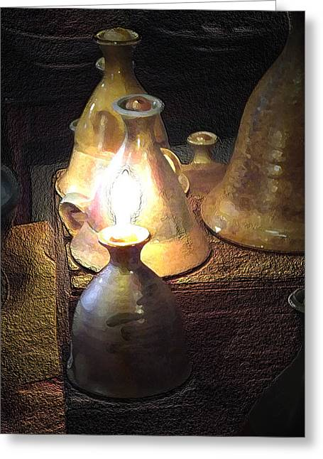 Pottery Oil Lamp  Greeting Card