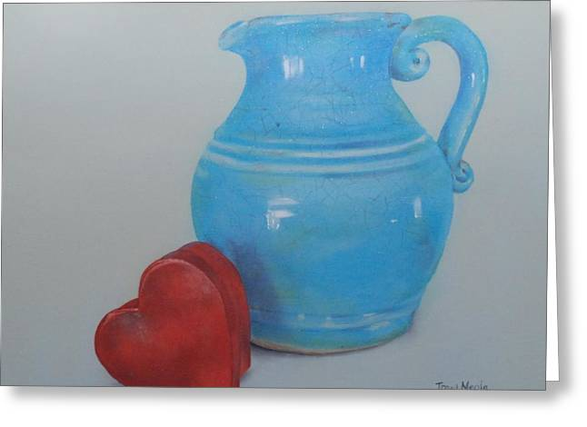 Pottery Pitcher With Mache Heart Box Greeting Card by Tracy Meola