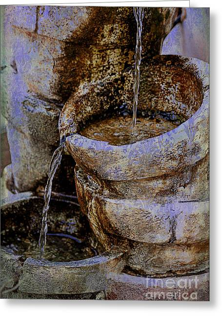 Pottery Water Fountain Greeting Card by Janice Rae Pariza