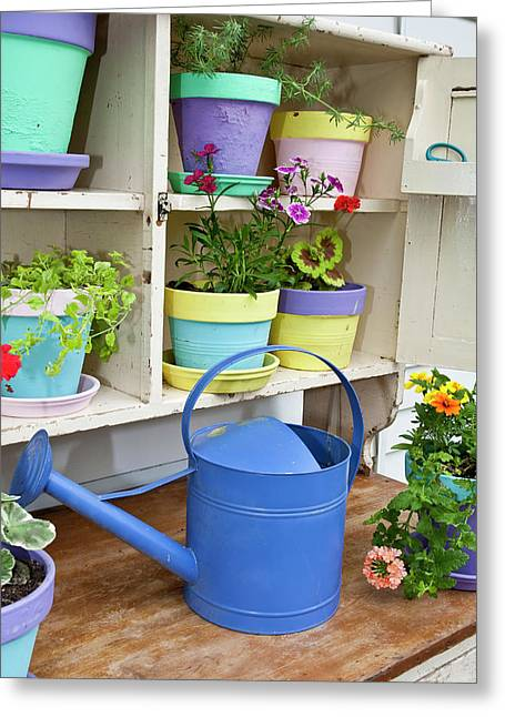 Potting Bench With Containers Greeting Card by Richard and Susan Day
