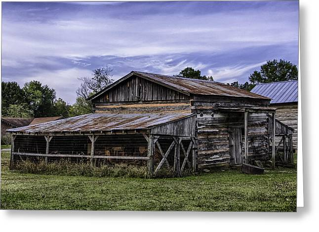 Greeting Card featuring the photograph Pottsville Arkansas Historic Log Barn by Betty Denise