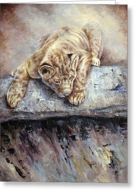Greeting Card featuring the painting Pounce by Mary McCullah