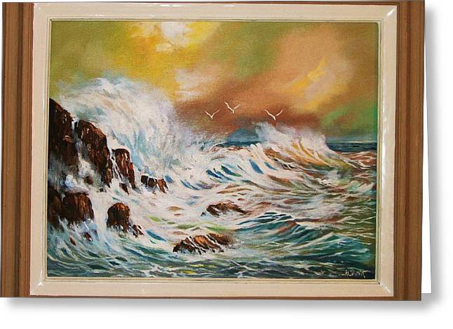 Greeting Card featuring the painting Pounding Surf by Al Brown