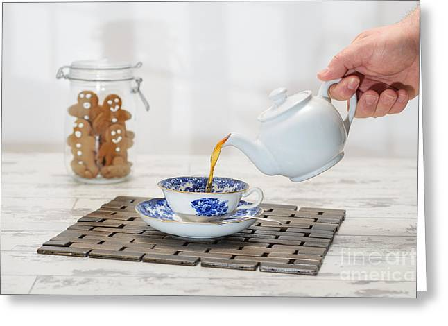 Pouring A Cup Of Tea Greeting Card by Amanda Elwell