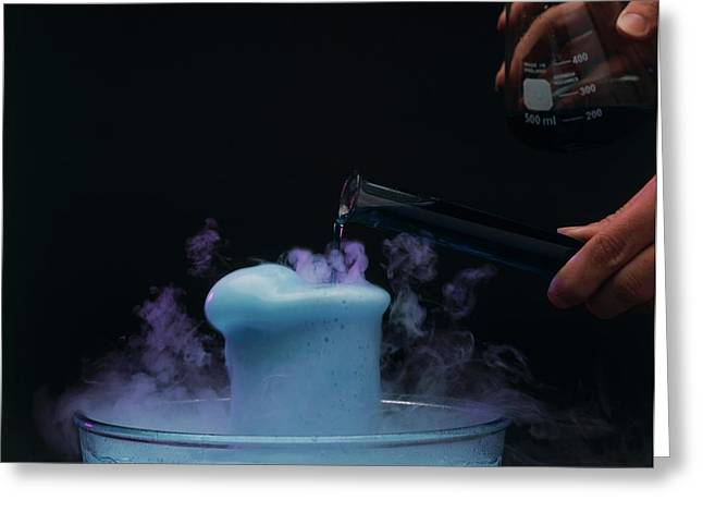 Pouring Coloured Fluid Into A Beaker Greeting Card