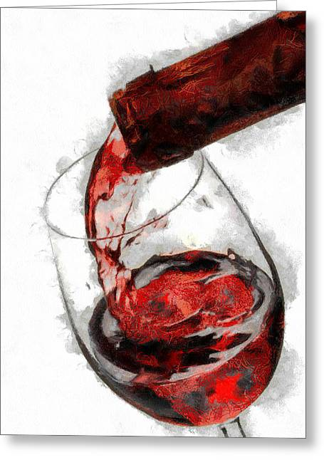 Pouring Red Wine Greeting Card