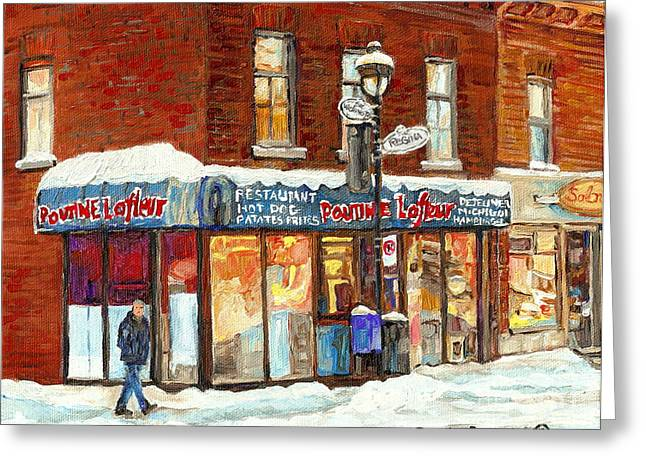 Poutine Lafleur Rue Wellington Verdun Art Montreal Paintings Cold Winter Walk City Shops Cspandau   Greeting Card by Carole Spandau