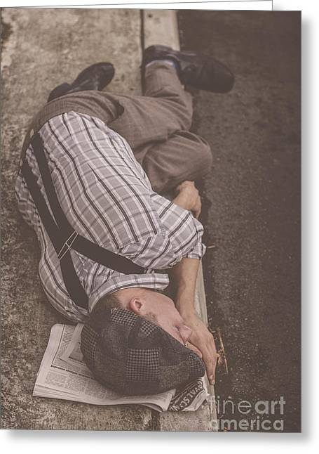 Poverty Stricken Newspaper Boy Greeting Card by Jorgo Photography - Wall Art Gallery