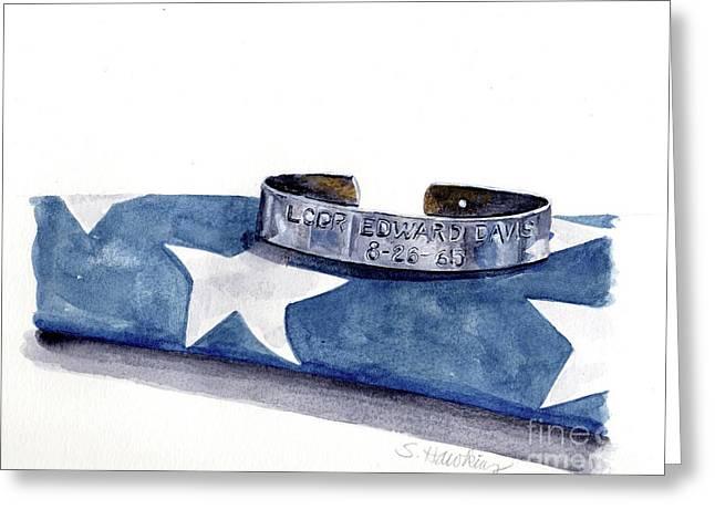 P.o.w. Bracelet With Flag Greeting Card by Sheryl Heatherly Hawkins