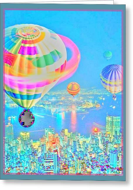 Powder Blue City Greeting Card by Tracie Howard