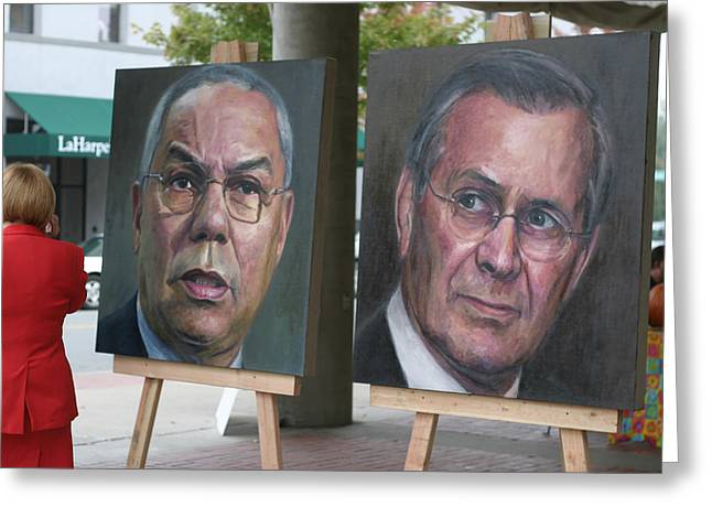Powell And Rumsfeld In Little Rock Greeting Card by Carl Purcell