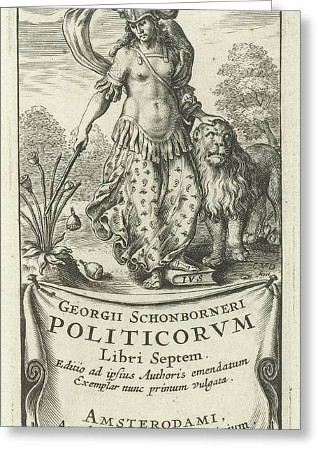 Power As Female Soldier In Armor With Lion Greeting Card by Cornelis Van Dalen (i) And Lowijs Elzevier (iii)