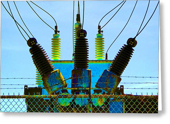 Electrical Wires Greeting Card by Laurie Tsemak