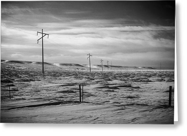 Power Line Horizon Greeting Card by Paul Bartoszek