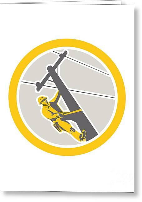 Power Lineman Repairman Climbing Pole Circle Greeting Card by Aloysius Patrimonio