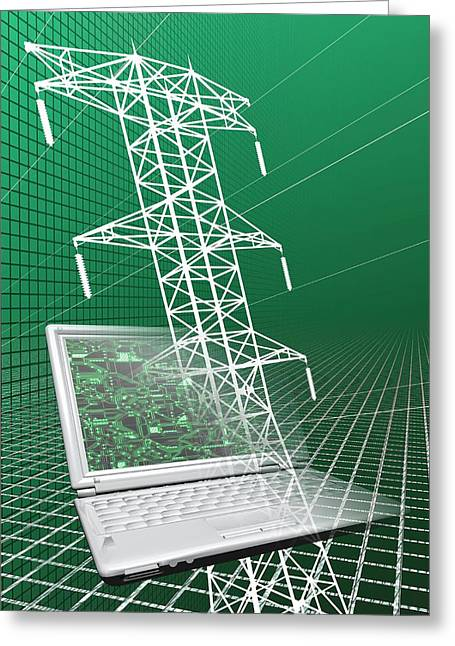 Power Lines And Laptop Greeting Card