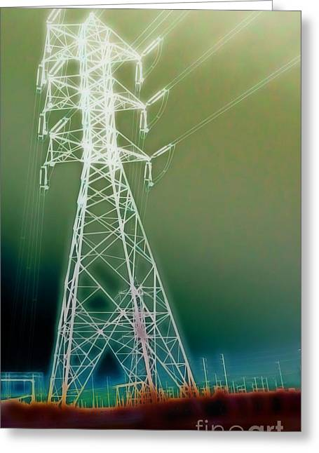 Power Lines Greeting Card by Gregory Dyer