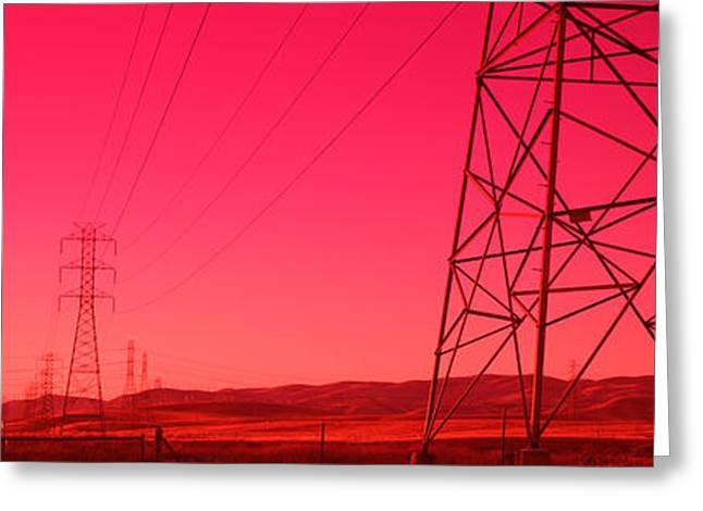 Power Lines In The Valley, Central Greeting Card by Panoramic Images